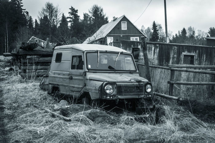 Car Abadoned Architecture Blackandwhite Building Exterior Built Structure Car Day History Karelia Mode Of Transport Nature No People Old Outdoors Russia Transportation Travel Tree Village карелия Машина Россия старый транспорт Чб