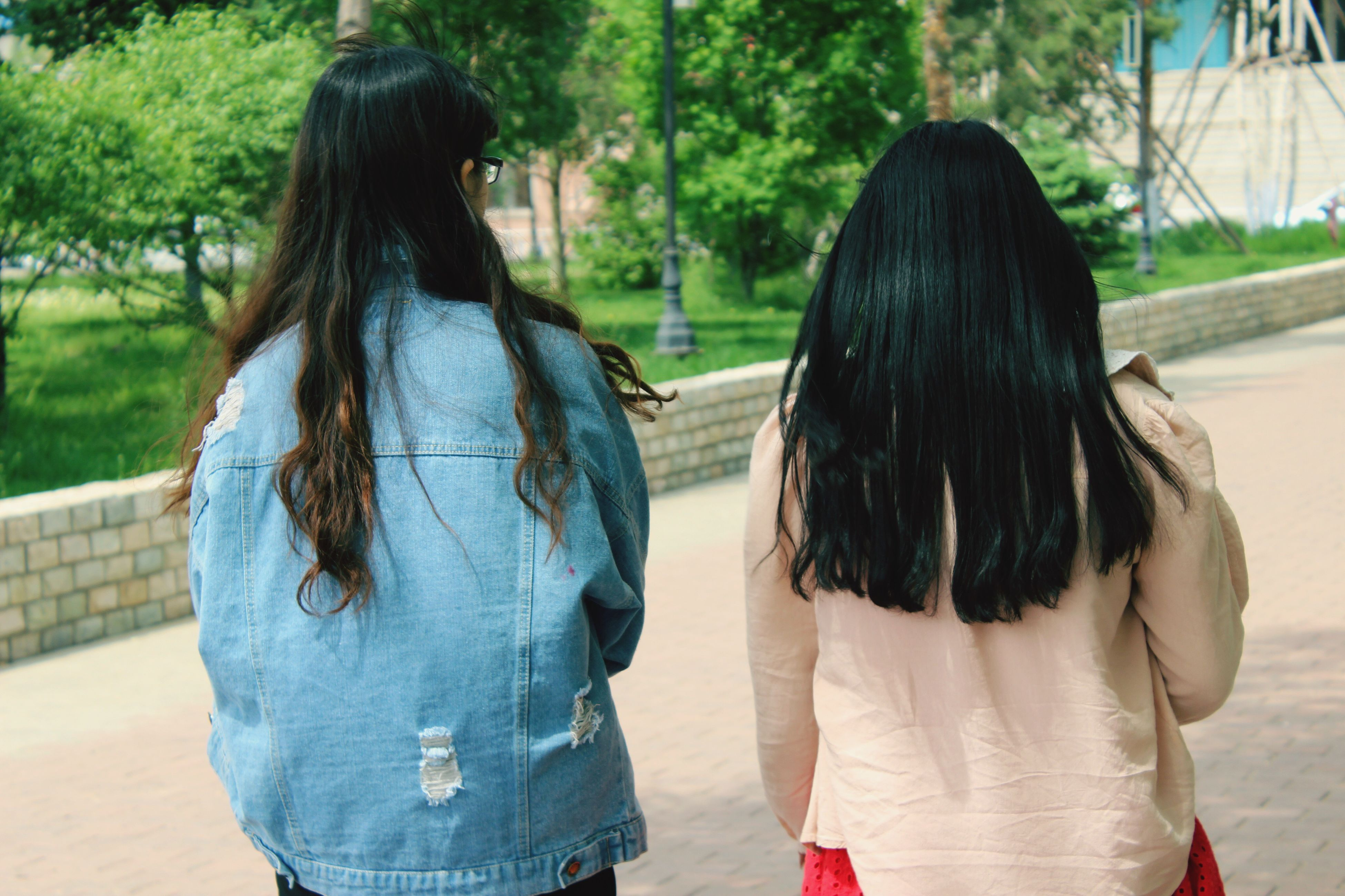 rear view, lifestyles, person, leisure activity, long hair, casual clothing, standing, focus on foreground, waist up, brown hair, outdoors, girls, three quarter length, day, togetherness, walking, tree
