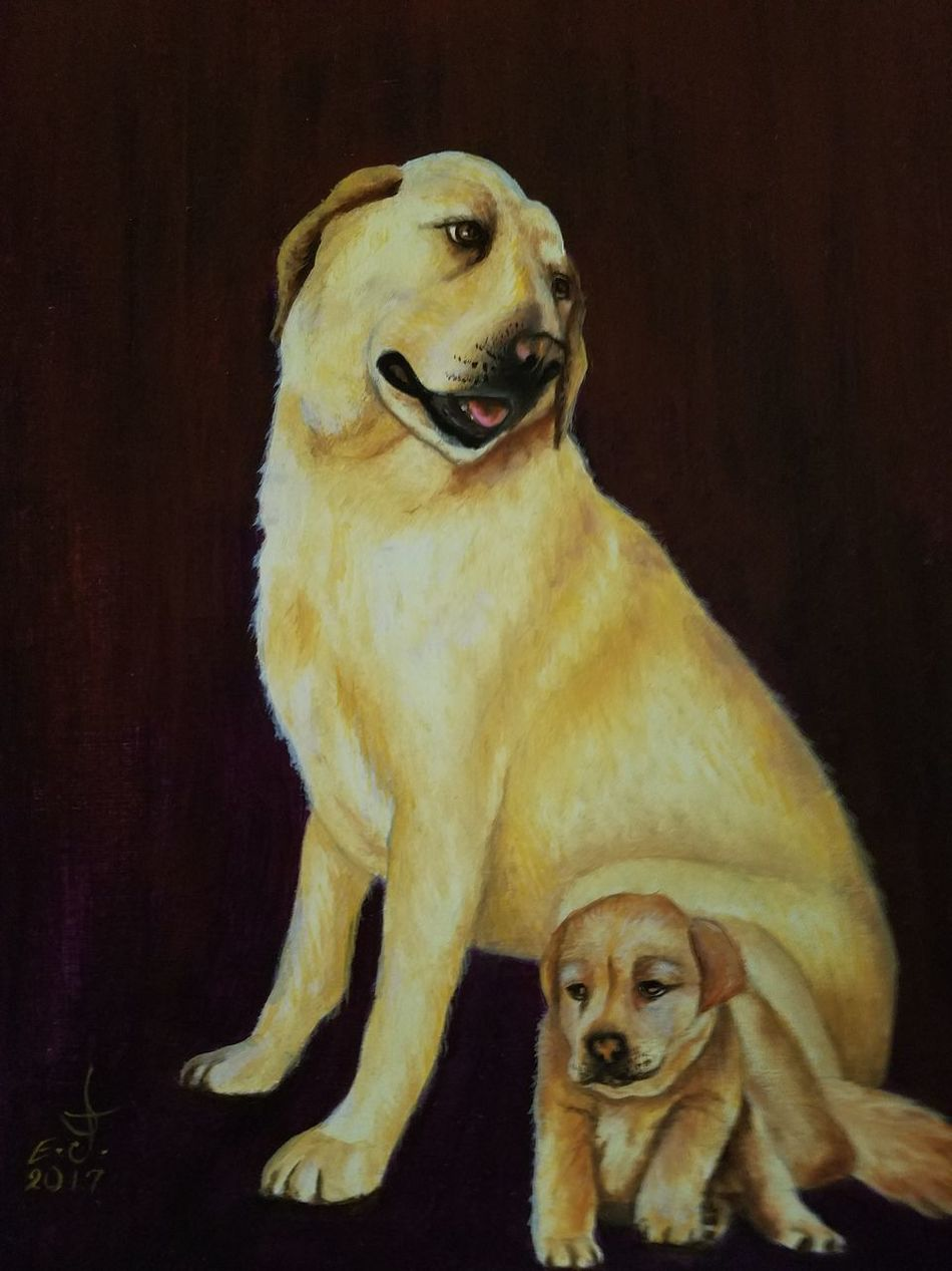 """Labrador Retriever with her puppy, our best friends on canvas 16""""_20"""" Pets Dog Animal Themes Domestic Animals Close-up My Art Collection Drawing Creativity Fine Art Freedom Oil Painting Art Nature Art, Drawing, Creativity Precious Animals Friendship. ♡   Love❤ Koi with My Best Friends ❤"""