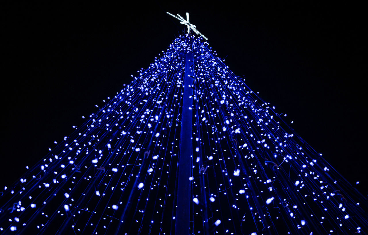 Christmas Blue Sky Celebration Christmas Tree Christmas Decoration Christmas Lights No People Tradition Night Colorphotography Colorfull Canon Nightphotography Night Lights Outdoors Illuminated Celebration Welcome Weekly Horizontal