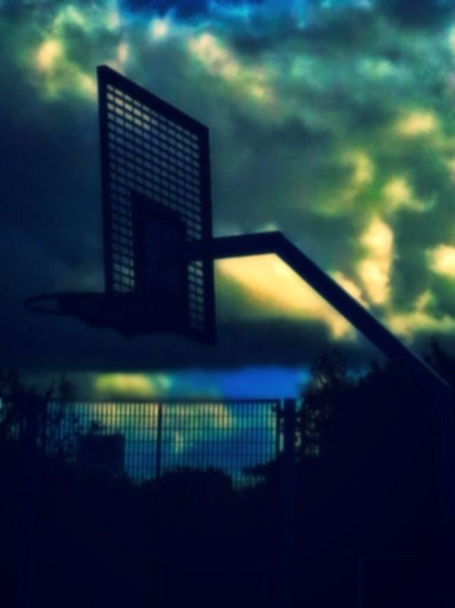 Basket Hoop Night Sky Cloudscape Basketball Court Outdoors Twighlight Blue Blue Color Dont Fence Me In