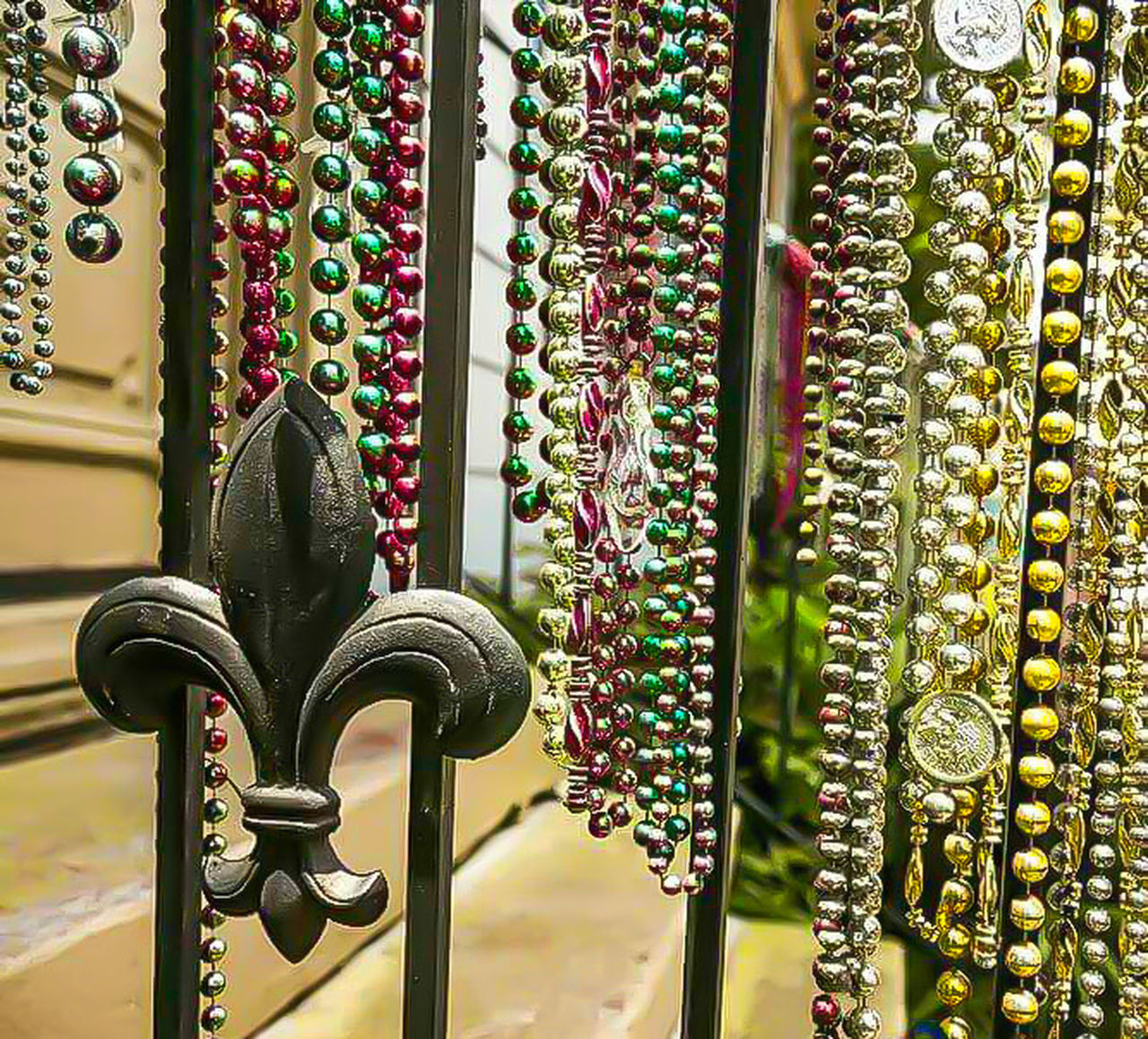 No People Day Close-up Outdoors Carnival Mardi Gras Beads Beads New Orleans, LA Colorful Bead Shiny Party Favors Jewlery Costume Jewelry Festival Iron Fence Decorative Fence Stairway Stair Railing Railing Antique Vintage