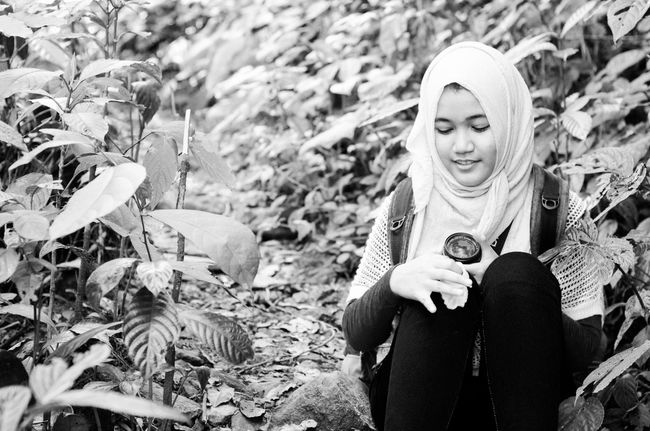 Young Girl Tropical Rainforest Pinus Forest Stronggirl Blackandwhite Photography EyeEm Bnw