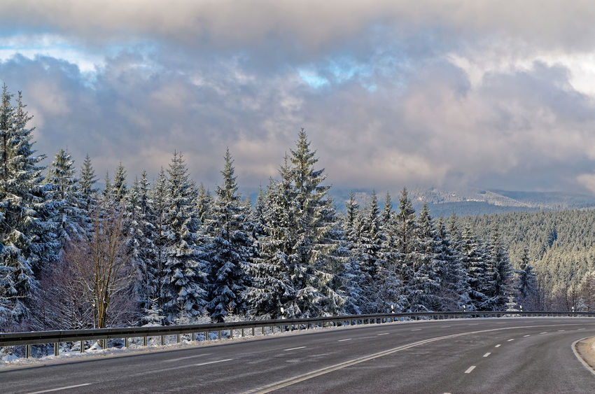 Winter landscape in Harz mountains, on the motorway near Braunlage, Germany Harz National Park Cloudy Growth Nature Panorama Tranquility Trees Weather Winter Beauty In Nature Clouds Cold Temperature Day Forest Harz Highway Landscape Motorway Mountain No People Outdoors Scenics Sky Snow Tranquil Scene