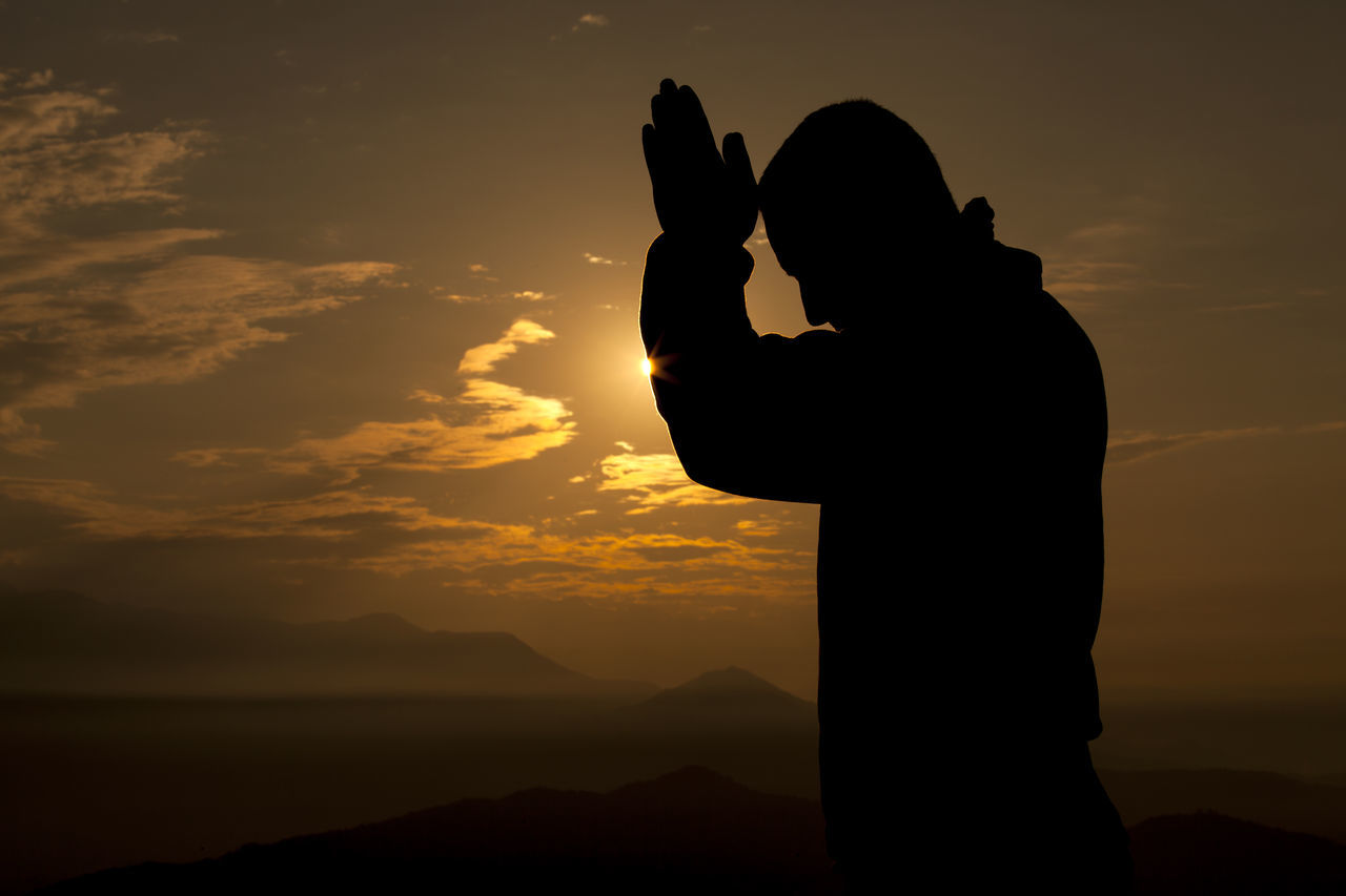 Hands together and pray. Adult Cloud Cloud - Sky Kathmandu Meditation Men Mind  Morning Light Nepal One Man Only One Person Peace People Silhouette Sky Sunrise Warm