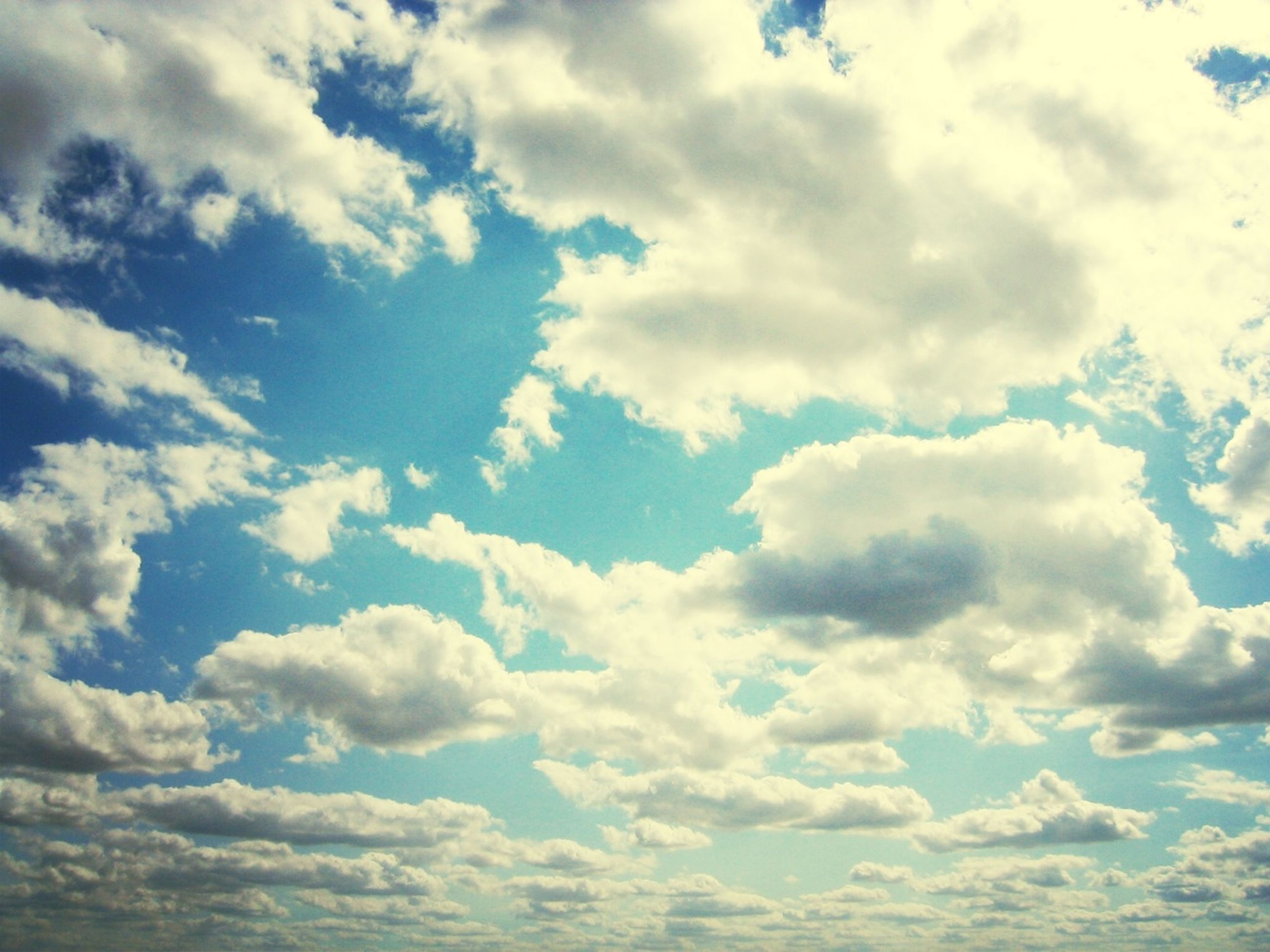 sky, cloud - sky, tranquility, beauty in nature, scenics, tranquil scene, cloudy, sky only, nature, cloudscape, blue, backgrounds, cloud, low angle view, idyllic, white color, full frame, day, fluffy, outdoors