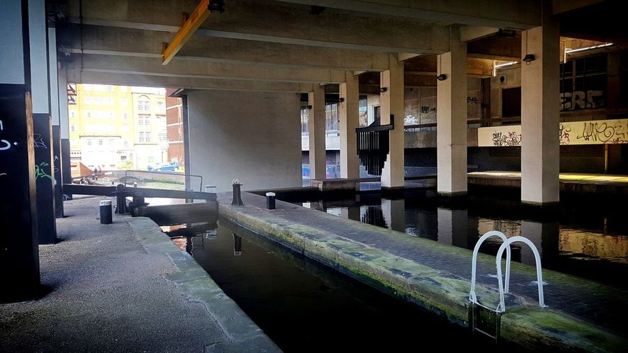 Canal under Brindley House - former telecom exchange Architecture Built Structure Canals And Waterways Underneath