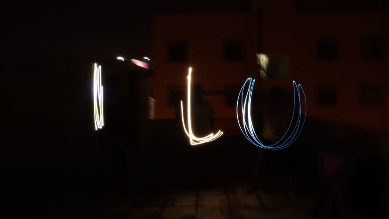 """I L U stands for I Love You """"Sony"""" No People Night Indoors  Illuminated Black Background Close-up Manual Mode Photography Night Photography Nwin Photography Sony A6000 SonyAlpha6000 Shutterspeed ISO Long Exposure"""