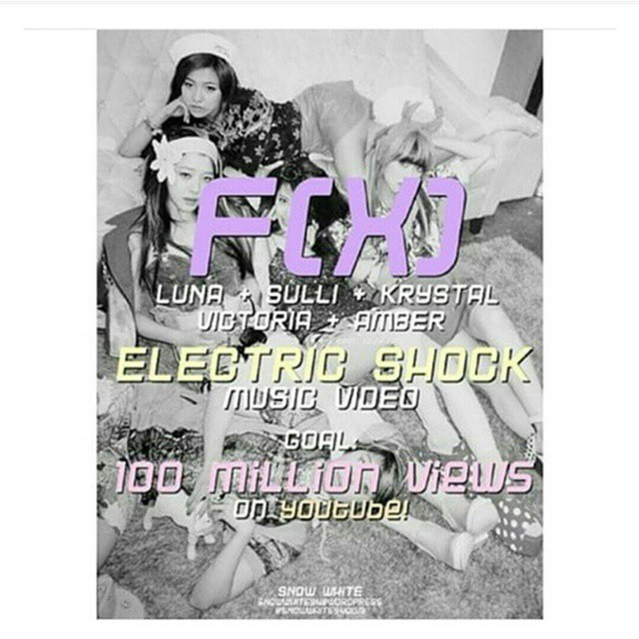 """Hi friends!! please help f(x)'s """"Electric Shock"""" MV to reach 100 million views, please help us, even if they're not your bias group, please 💕💞🙏😖 FX Sulli Chơi Krystal jung victoriasong song ajol llama amber liu luna sunyoung getelectricshockto100million"""