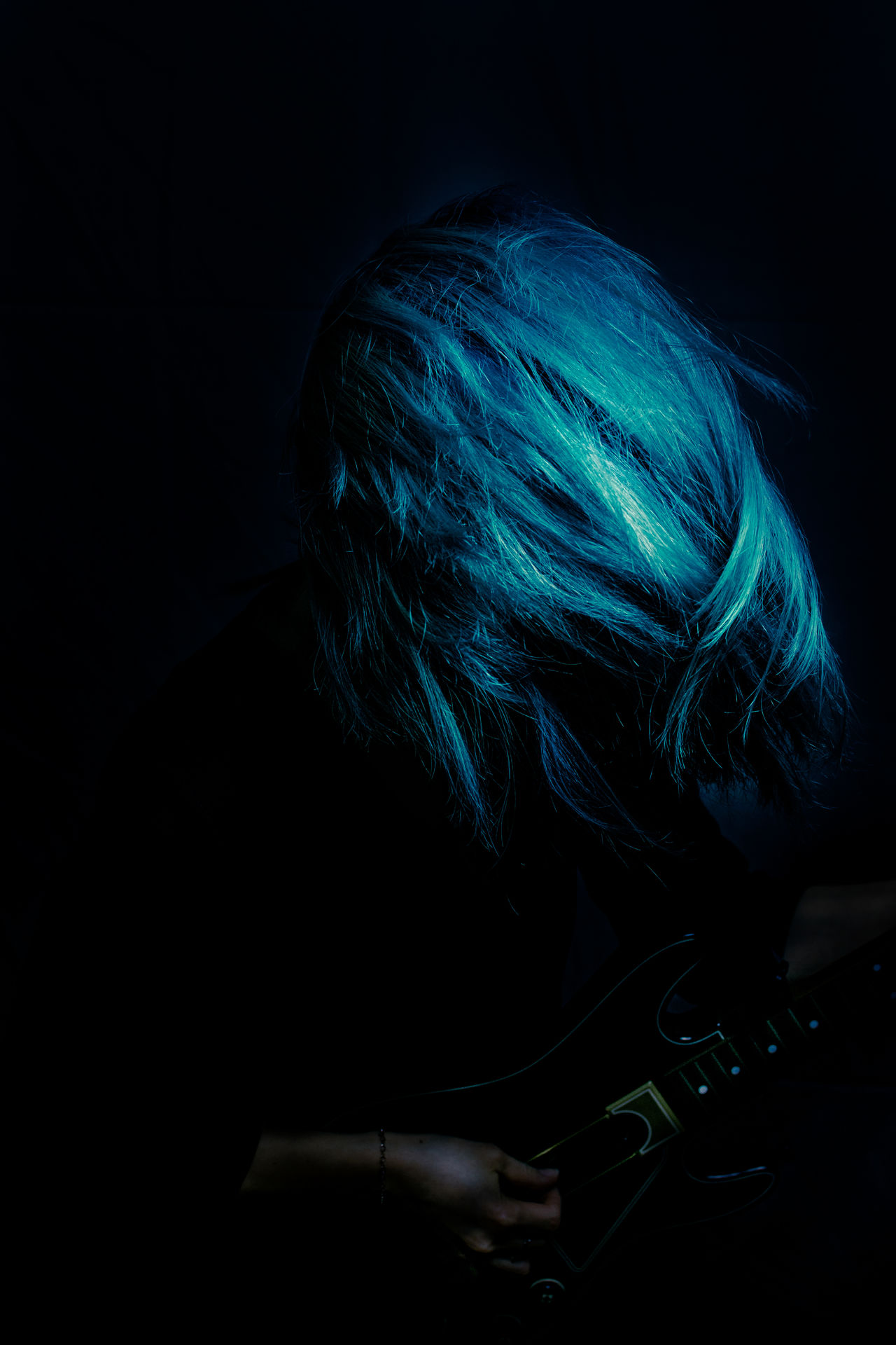 Born the be wild! Asian  Asian Woman Black Background Blue Blue Hair Born To Be Wild Feeling Good Human Hair Korean Looking Down Music Musical Instrument Musician One Person Passion Performance Playing Guitar Portrait Shake Studio Shot Wild Young Adult Young Woman