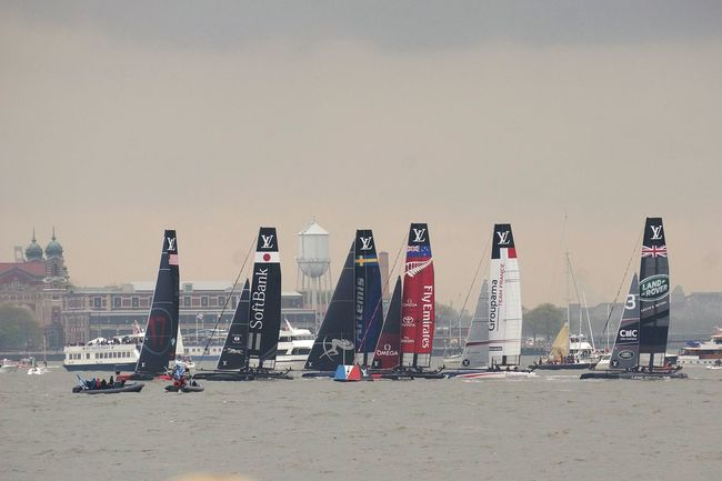 Americas Cup in Nyc. Starting Line for the only Race of the day Saturday. Japan won. Ellison a distant 3rd
