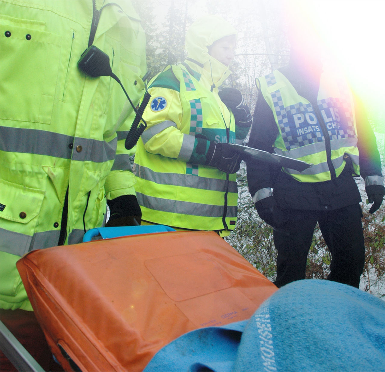 Ambulance Service Ambulance Staff Emergency Emergency Services Police Policeman Protective Workwear Reflective Clothing Rescue Rescue Worker Rescued Stretcher Sweden