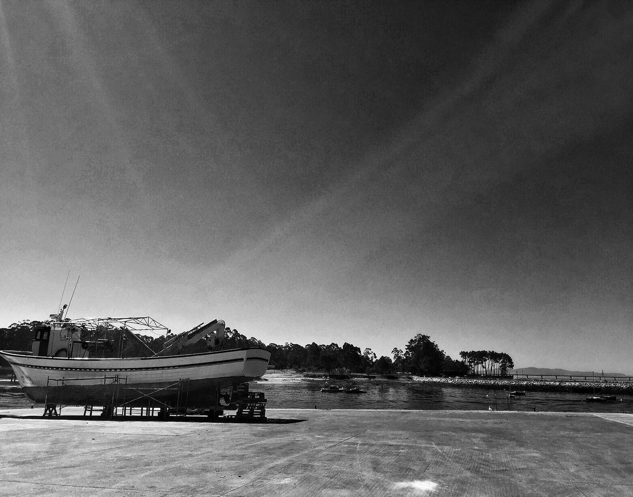 Blackandwhite Nautical Vessel Boats Dry Land