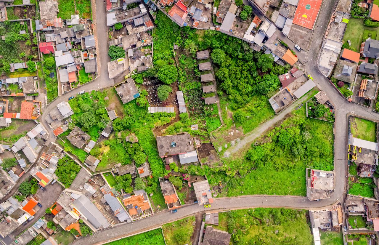 Residential Community Of Banos De Agua Santa, Tungurahua Province, South America Aerial Aerial Photography Aerial View Altitude Andes Architecture BañosEcuador Building Exterior City City Life Cityscape Day Downtown District Drone  Dronephotography Forest Green Color House Housing Development Nature No People Outdoors Residential Building Residential Structure Roof