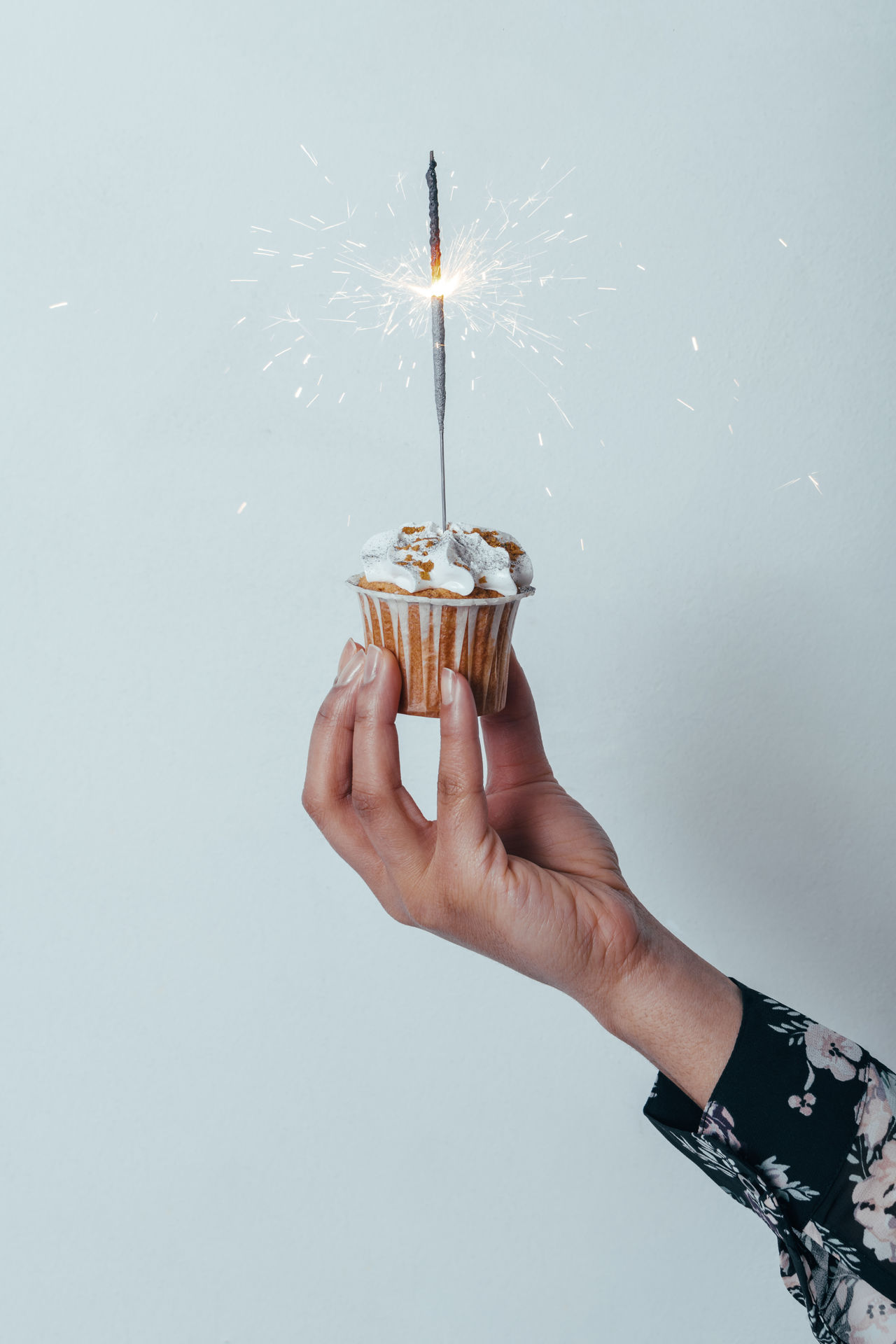Birthday Birthday Cake Celebrating Celebration Cupcake Cupcakes EyeEm Best Shots Glow Glowing Hand Holding Human Hand Minimalism One Person One Woman Only People Sparkle Sparklers Studio Shot