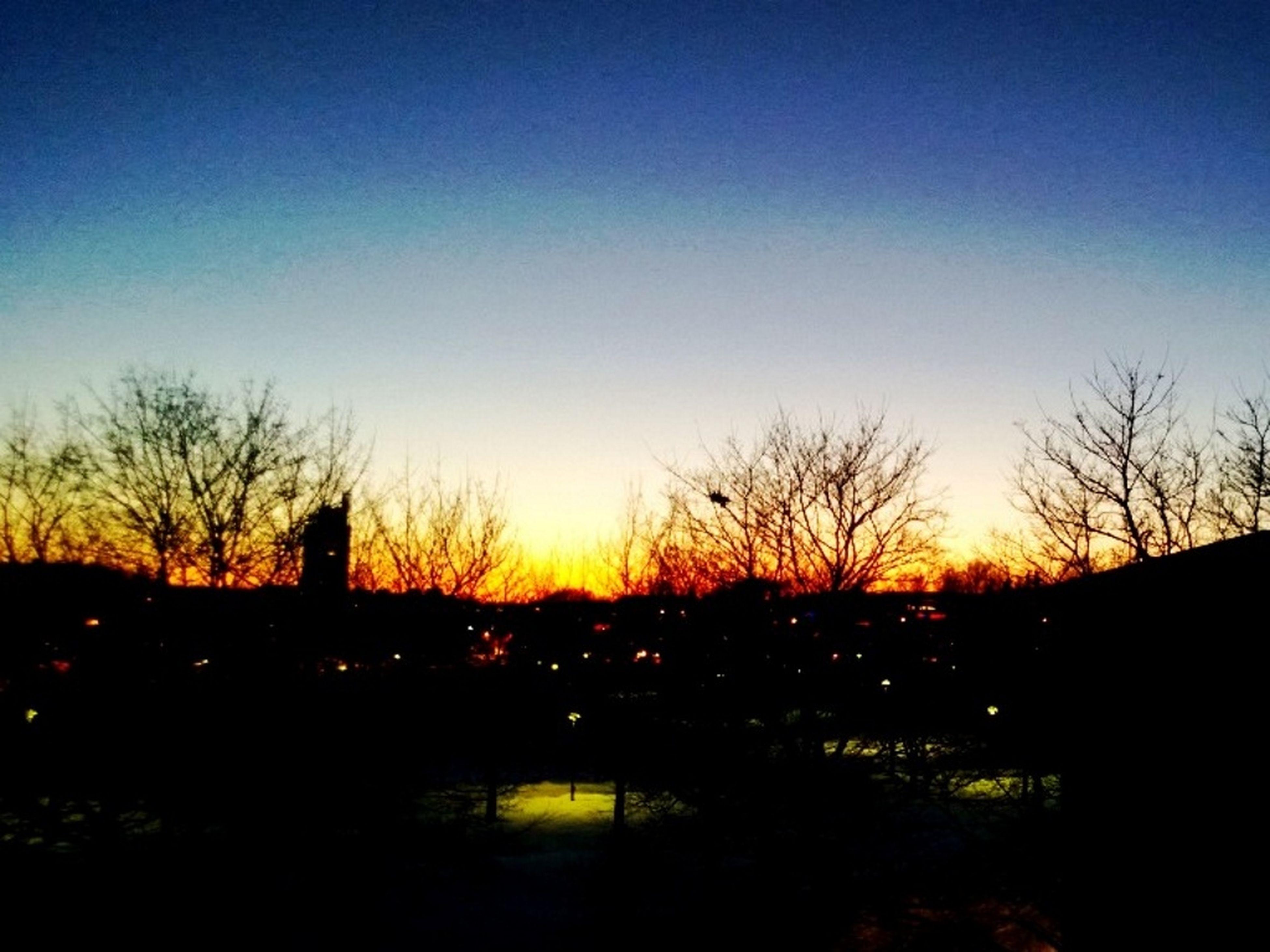 sunset, silhouette, clear sky, bare tree, tree, tranquil scene, copy space, tranquility, scenics, beauty in nature, blue, orange color, nature, landscape, sun, idyllic, dark, sky, dusk, built structure