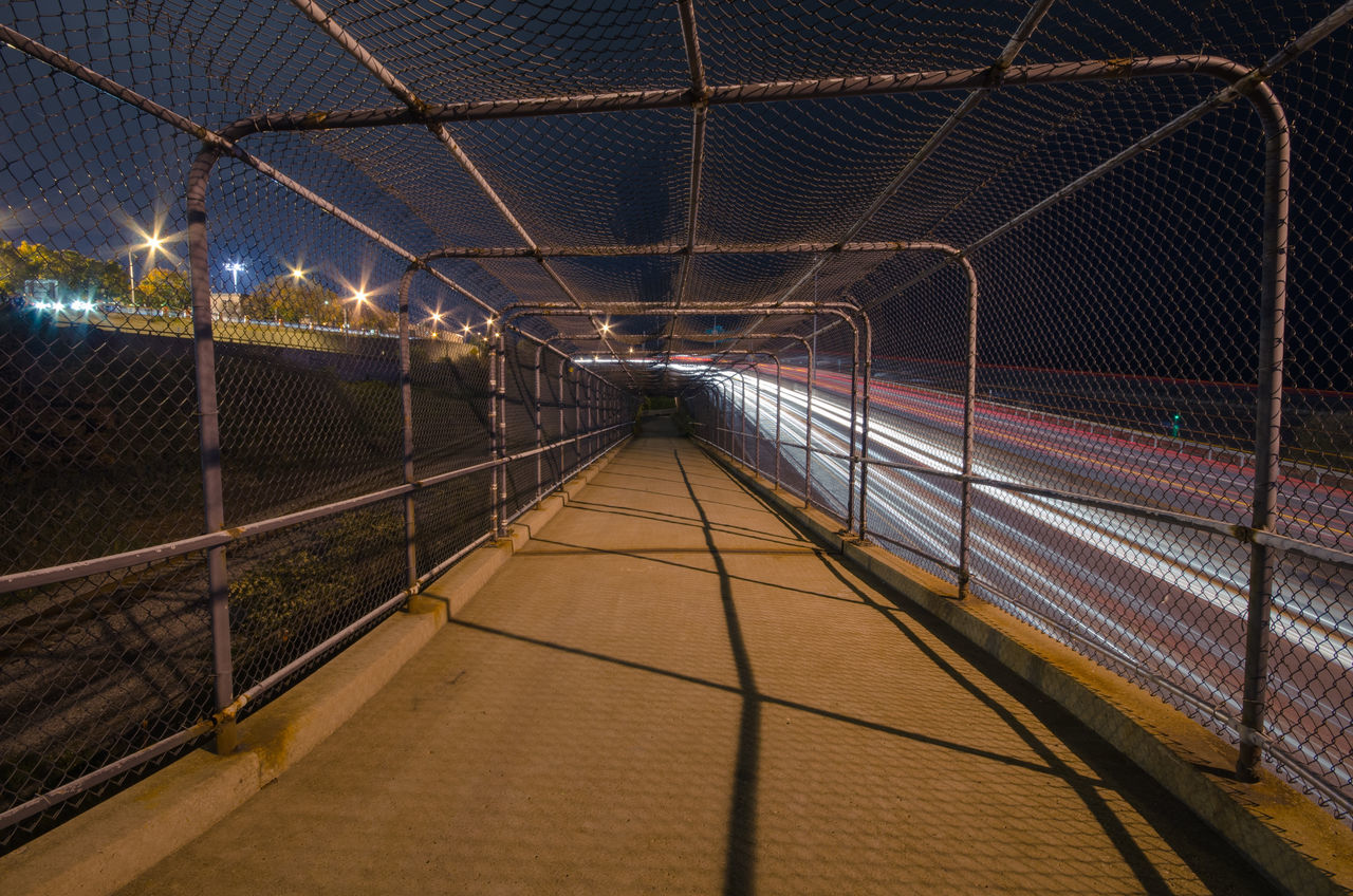Bike Path Built Structure City Diminishing Perspective Empty Illuminated Lighting Equipment Long Long Exposure Night Nighttime No People Sky The Way Forward Vanishing Point Walkway Walkwaywhy Walkwithme
