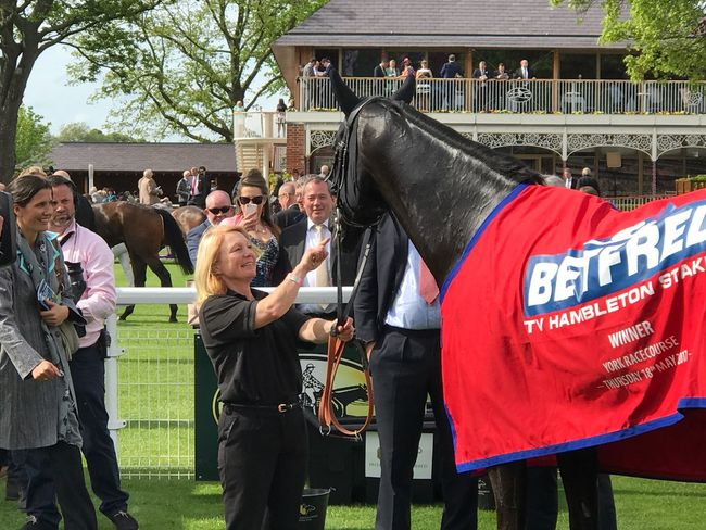 Here Comes When Large Group Of People Sports Race Winner at York Races