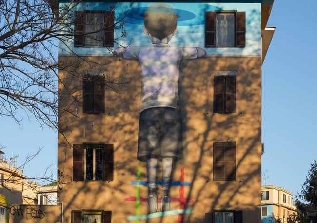 Apartment Building Exterior City Life Exterior Mural Art Murale Di Tor Marancia Residential Structure Rome Italy