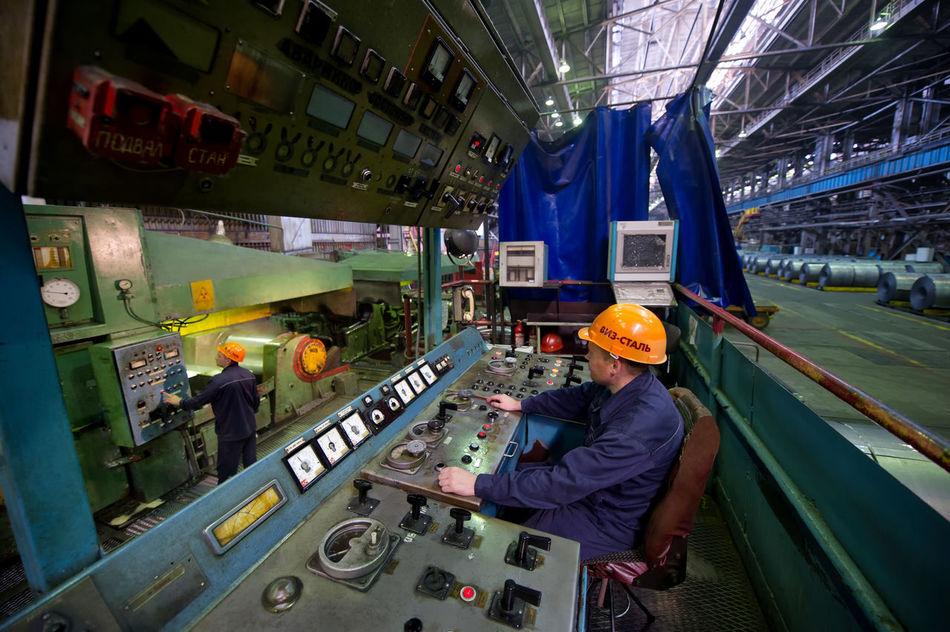 Russia, Yekaterinburg, Upper Iset plant, steel cold rolling mill Bus Casual Clothing City City Life Day Journey Land Vehicle Leisure Activity Lifestyles Mode Of Transport Russia, Yekaterinburg, Upper Iset Plant, Steel Cold Rolling Mill Transportation