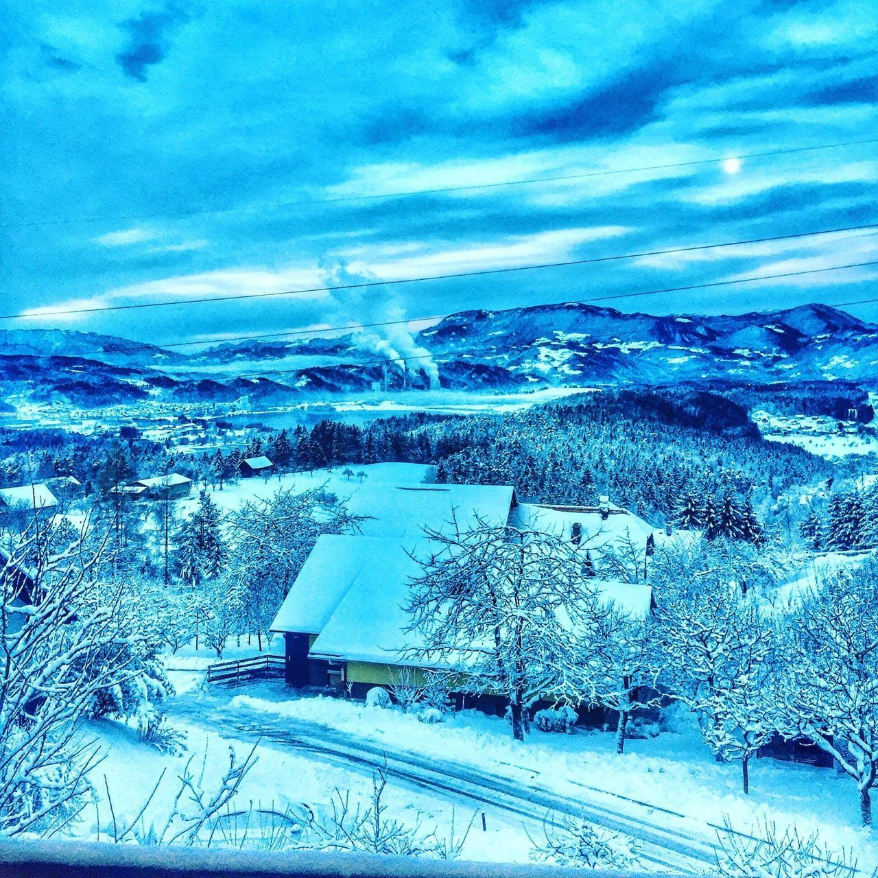 ❄ Winter Snow Thermalpowerplant Mountains View View From The Window... View From Above EyeEm Best Shots EyeEm Nature Lover Eye4photography  Sellphotos Cold Temperature Lake Frozen Frozen Lake Frozen Nature Blue Sky IPhoneography Road Travel Destinations Dramatic Sky Cloud - Sky Sunset EyeEm