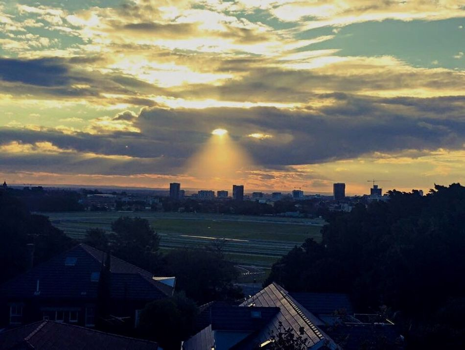 Rooftop View Clouds And Sky Sun Rays Racecourse Randwick Sydney Sunset Sunset_collection
