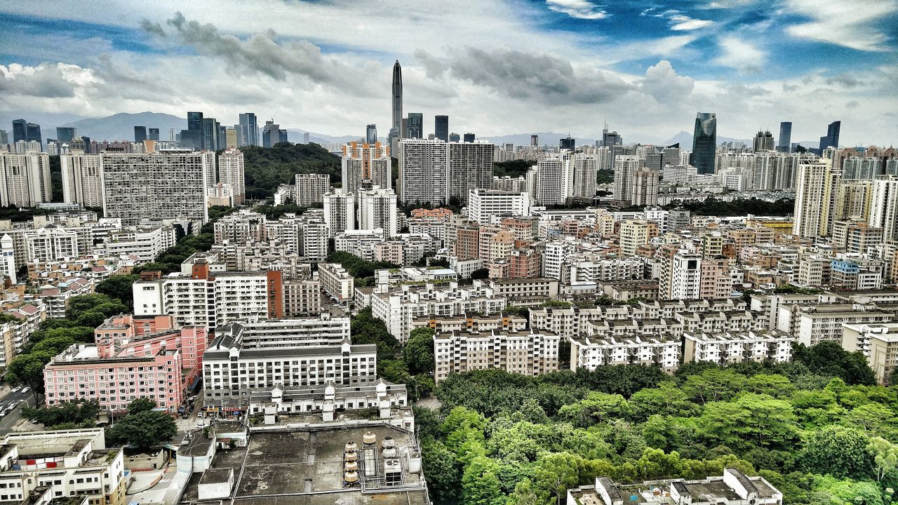 Landscape Modern Architecture Buildings Aerial View Shenzhen China Shangmeilin