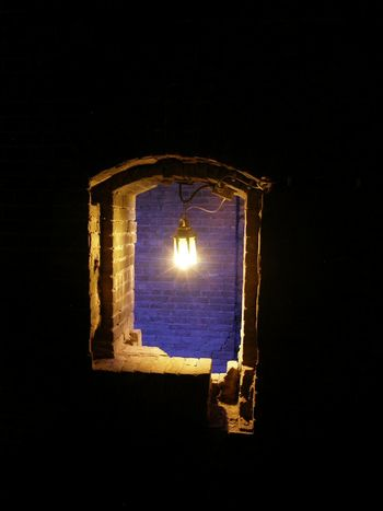 Ammunition Room Build Structure Defence Fort Fortress History Illuminated Indoors  Pampus Netherlands Purple Stuffy Window