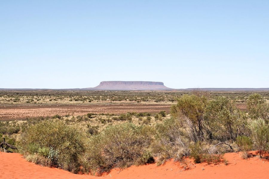 Stewart Highway Northern Territory Australia Uluru Ayers Rock National Park Desert Nature Landscape No People Outdoors Sky Travel Destinations Australian Landscape Tourism Panoramic Nature_perfection Sand Nature Blue Tranquil Scene Agriculture Rural Scene Farm Clear Sky Field