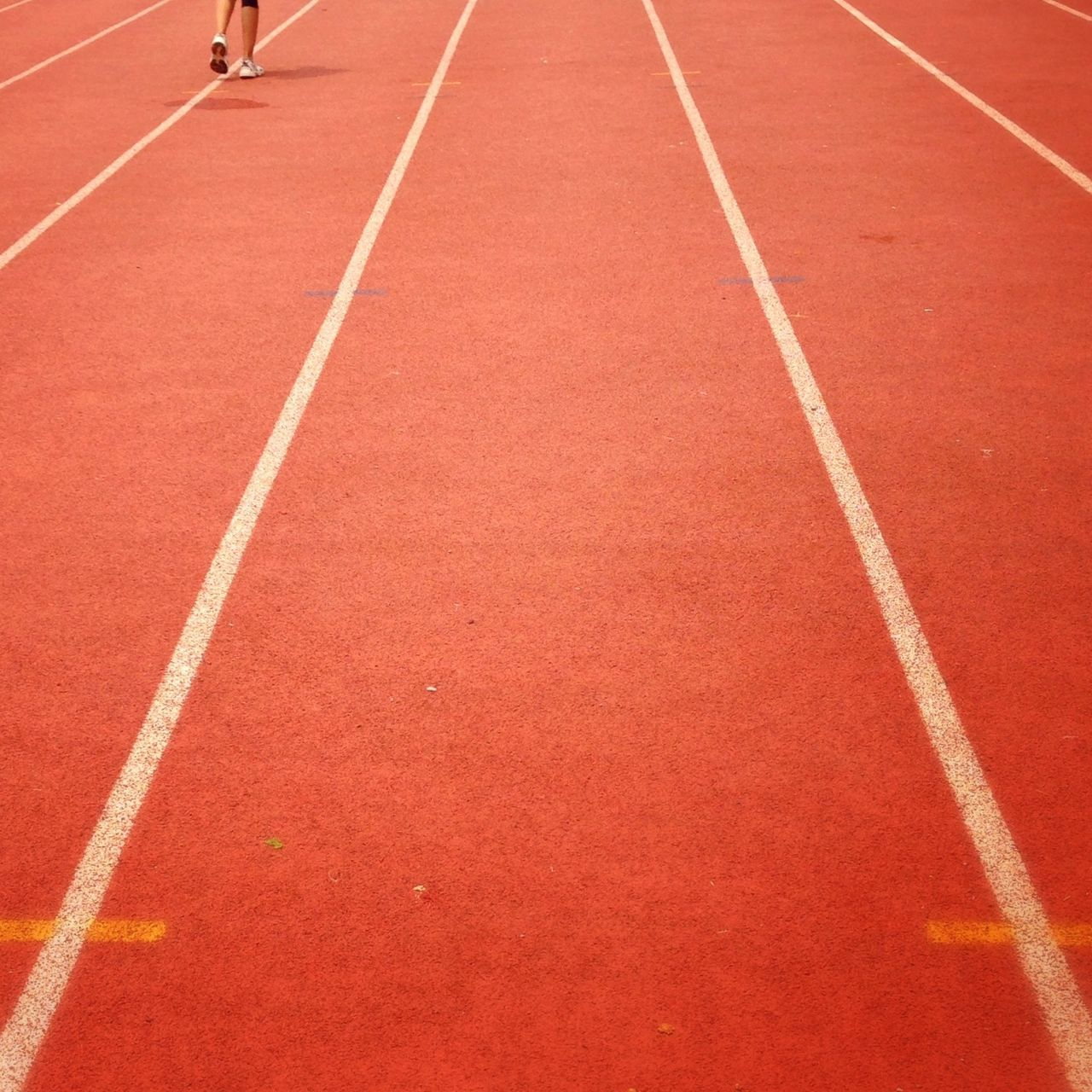 Low section of person on running track