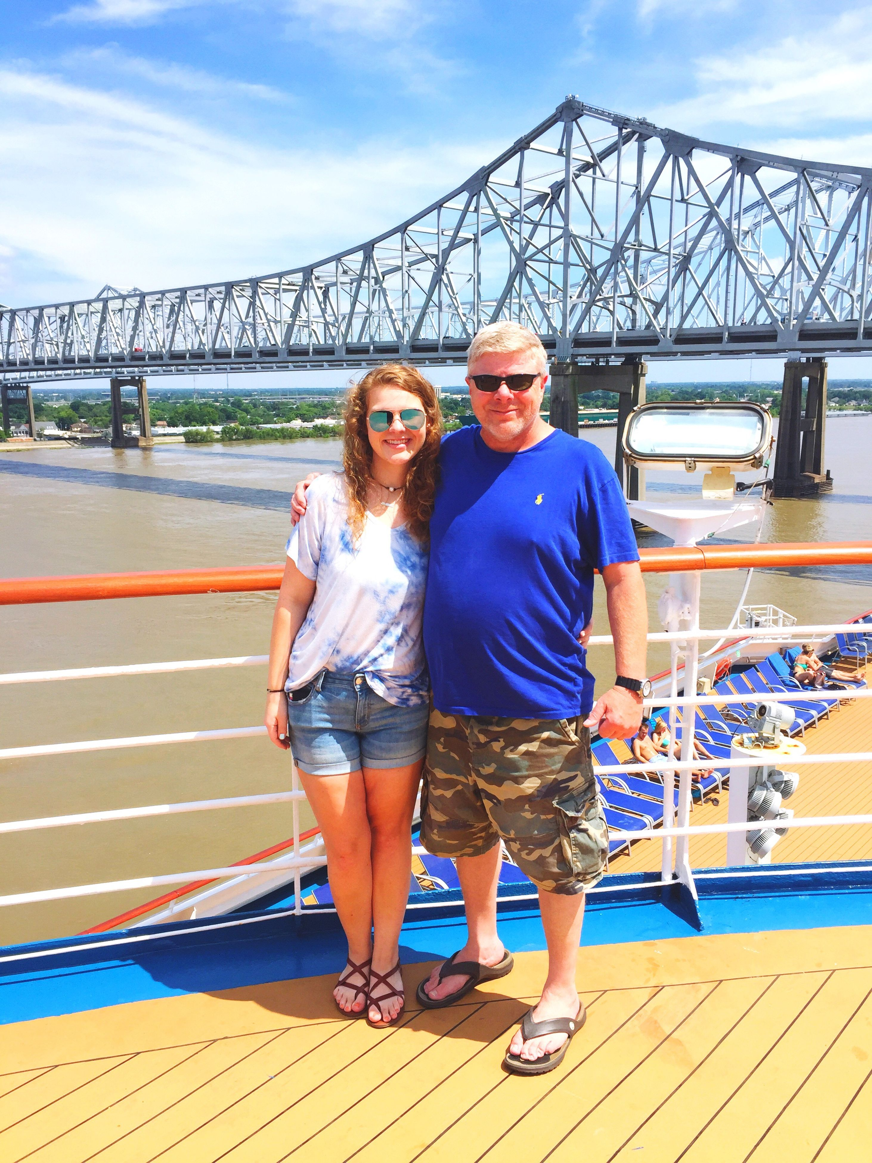 two people, full length, looking at camera, real people, casual clothing, portrait, leisure activity, togetherness, young adult, young women, bridge - man made structure, standing, smiling, happiness, transportation, lifestyles, nautical vessel, day, outdoors, sky
