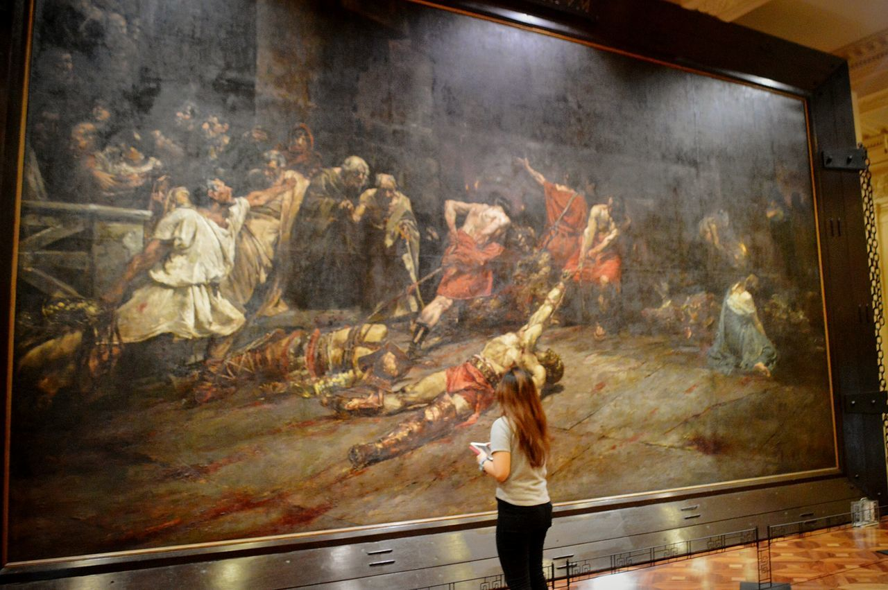 spolarium One Person Painted Image One Woman Only Indoors  Lifestyles Performing Arts Event Only Women Full Length Oil Painting People Fine Art Painting Adult Adults Only Day Mobile Conversations