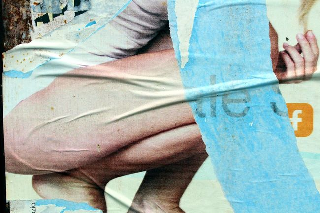 Torn poster with female legs Bodyshot Close-up Legs Legs_only Leisure Activity Part Of Textile Torn Poster Unrecognizable Person