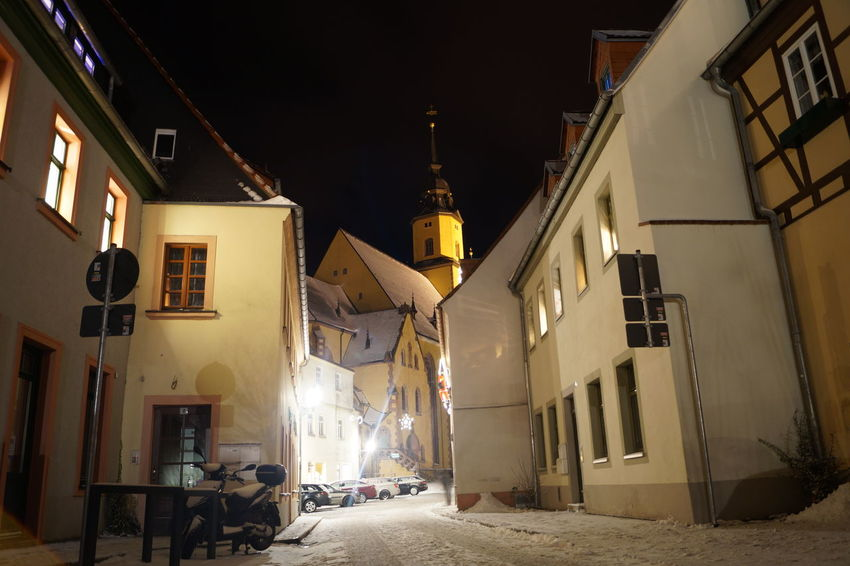 Kirche Mittelsachsen Nightphotography Schnee Winter Wintertime Architecture Building Exterior Night Oederan Sky Snow