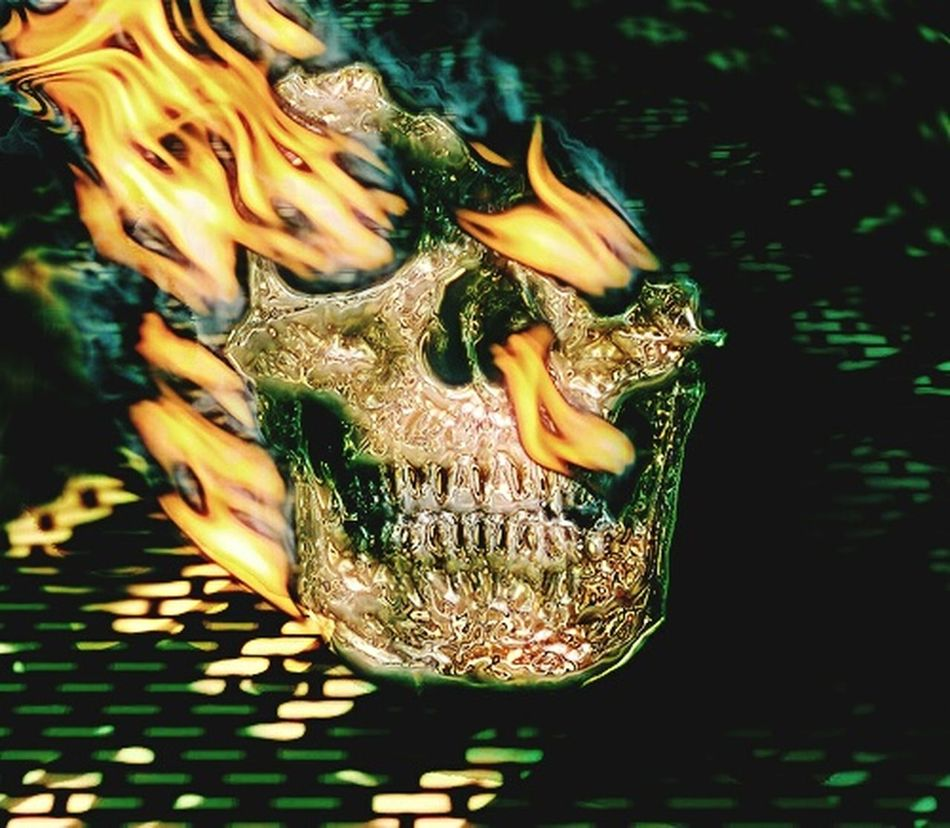 Gold Skull Burning Close-up Danger Heat - Temperature On Fire Flames & Fire Night Freaky Halloween Burn Burning Fire Flames Digital Art Photomanipulation Photoshop Edit Inferno Human Body Part Horror Human Skull Deformed Skull Exotic Skull Human Mystery