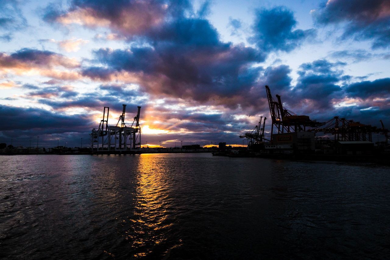 Waterfront Appleton Docks Melbourne Victoria Sea Cloud - Sky Sky Water Commercial Dock Sunset Built Structure West Gate Bridge Australia