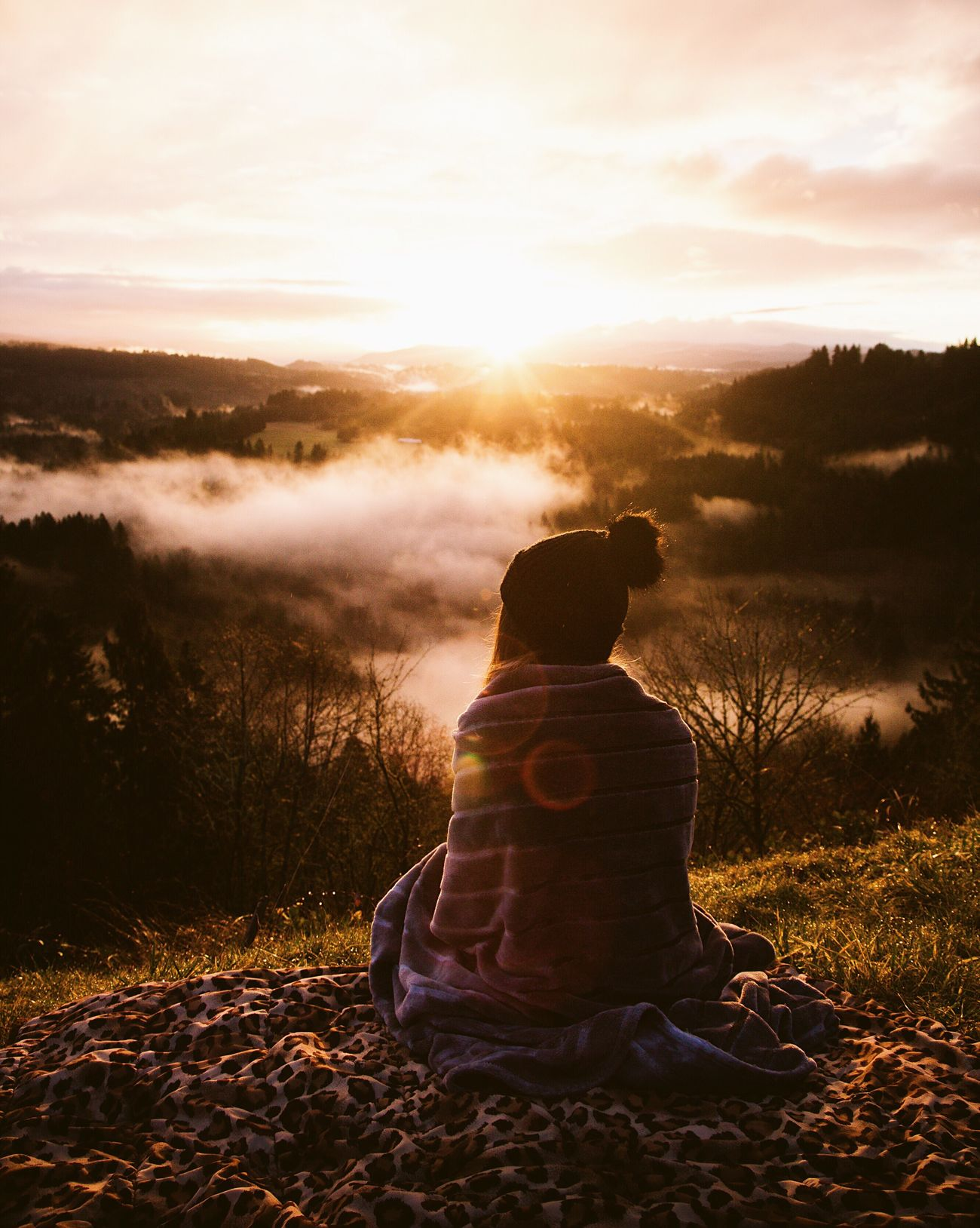 Epic sunrises. Rear View Sunset Sitting Full Length Sky One Person Nature Beauty In Nature Relaxation Real People Outdoors Cloud - Sky Scenics Warm Clothing People Adult Day