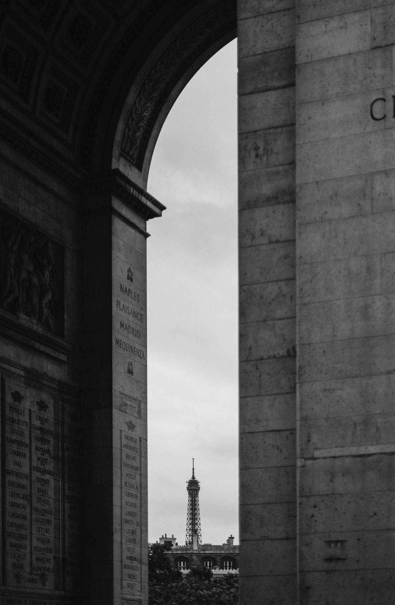 Architectural Column Architecture Building Exterior Built Structure Champ Élysées City Day Eiffel Tower France History No People Outdoors Paris Paris, France  Sky Statue Travel Travel Travel Destinations