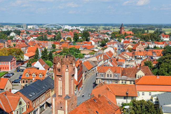 Cityscape of Tangermunde (Saxony-Anhalt, Germany) with old town wall tower Elbtor. Aerial View Altmark Architecture Built Structure City City Life Cityscape Cloud Drone  Elbe Elbe River Elevated View House Human Settlement Outdoors Residential Building Residential District Residential Structure Sachsen-Anhalt Saxonyanhalt Sky Tangermünde Town TOWNSCAPE Tree