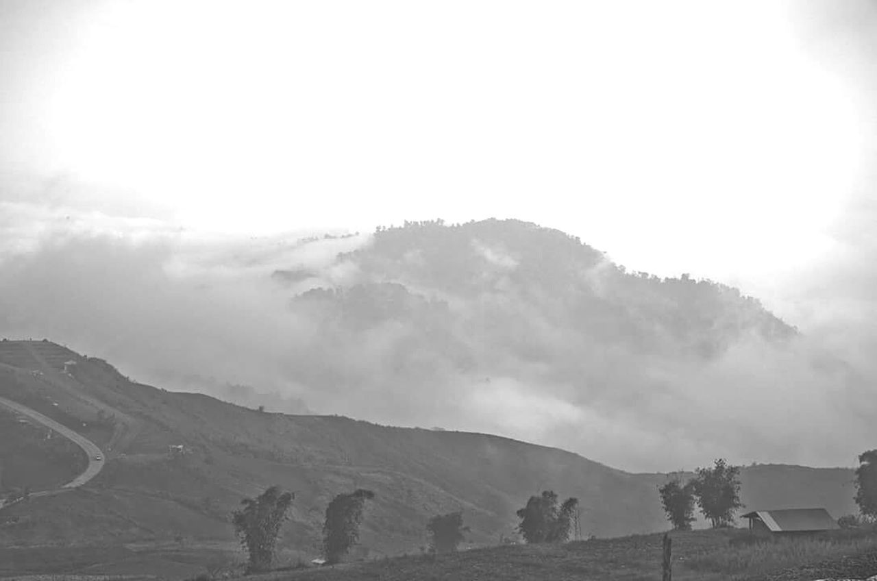 Mount Ain Landscape Cloud - Sky Beauty In Nature Fog Nature Outdoors No People Blackandwhite Black And White Black & White Dusk Fine Relaxing
