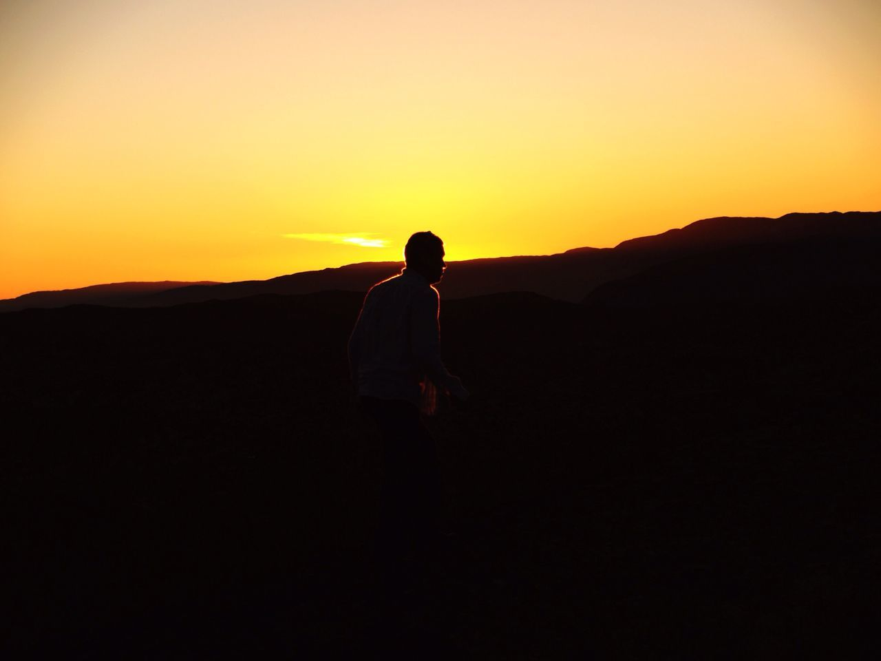 Beautiful stock photos of silhouette, Dusk, Head And Shoulders, Mountain, One Man Only