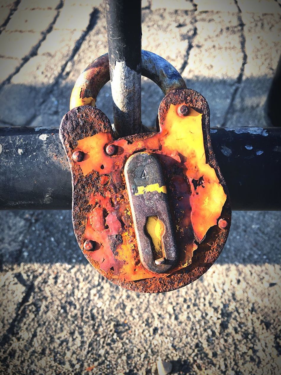 Metal Rusty Padlock Outdoors Lock Close-up Security No People Safety Focus On Foreground Day Chain Water Love Lock