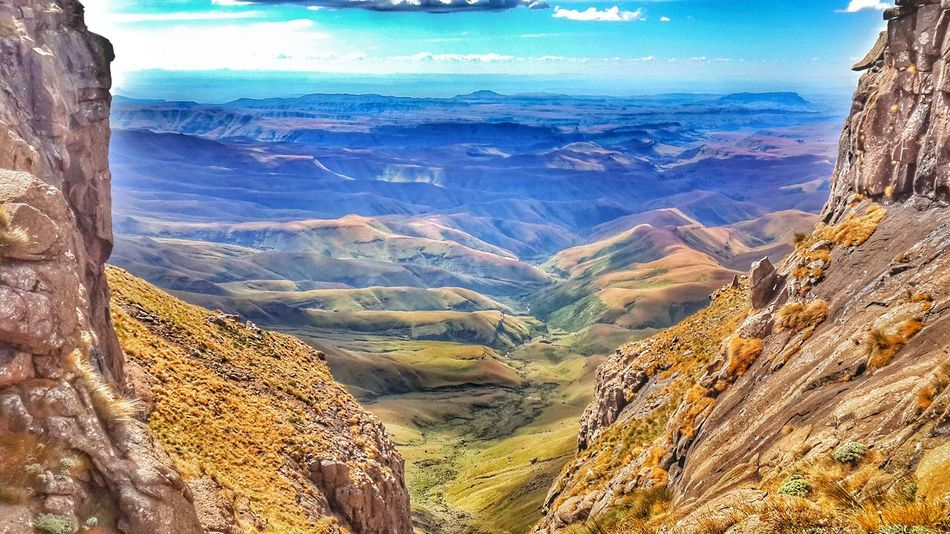 Giants Castle - Drakensburg, South Africa Landscape Travel Destinations Beauty In Nature Scenics Outdoors Aerial View Nature Sky Day No People Mountain Nature Photography First Eyeem Photo Pictureoftheday Rural Scene Vacations Hiking Drakensburg Taking Photos Viewpoint Dramatic Sky Heights Africa Multi Colored