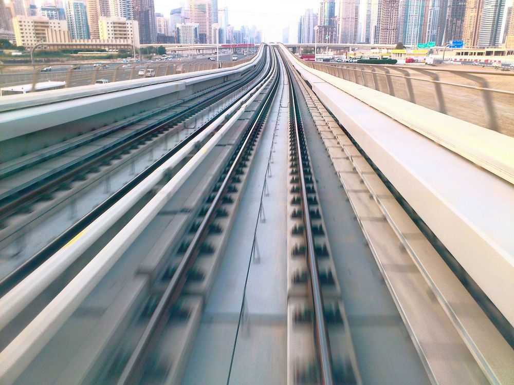 Speeding to the future.Metro Cityscapes Dubai Railways_of_our_world Speed Life In Motion Envision The Future Monorail  Rails Trains Moving Speedphotography Speeding Trains Railway Track To The City Traveling Transport Go To The City The Architect - 2017 EyeEm Awards The Great Outdoors - 2017 EyeEm Awards Lets Go. Together. The Week On EyeEm Been There. Done That.