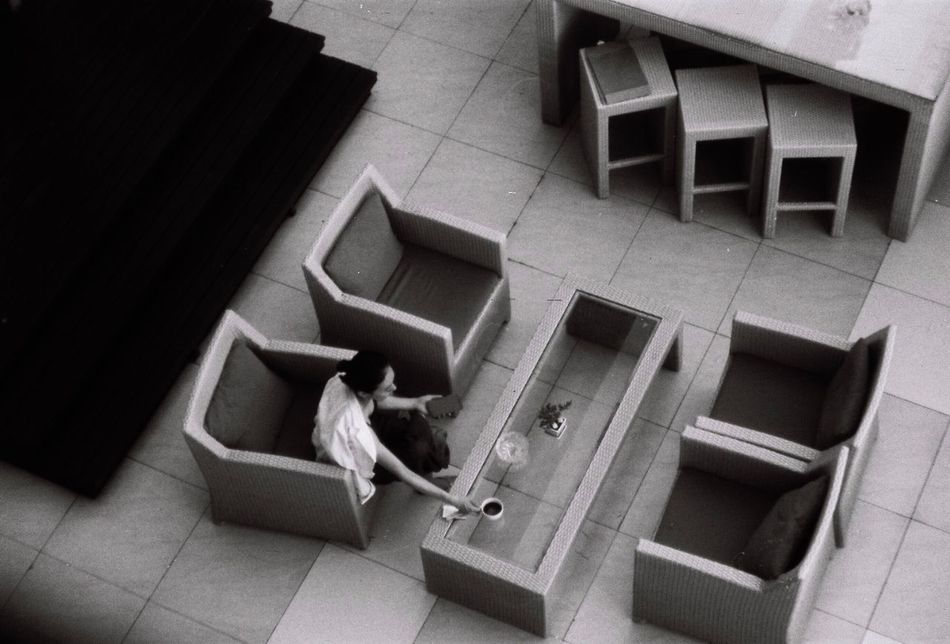 Real People High Angle View Steps And Staircases Lying Down Full Length Indoors  Architecture Day Blackandwhite 35mm Camera SMCTAKUMAR Film Film Photography Nikon Fm2 Negative 135 35mm Film Thailand Filmisnotdead Bangkok