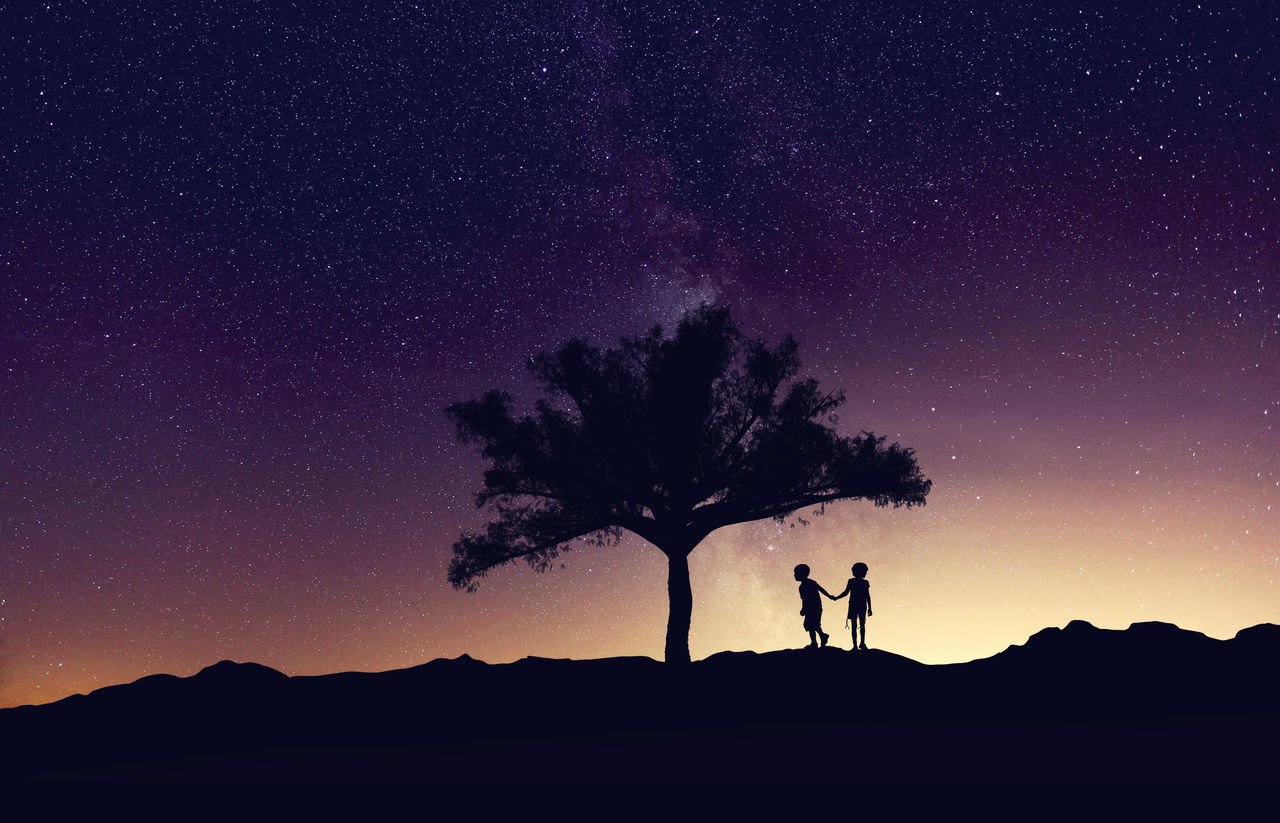 Take me to paradise Beauty In Nature Dark Landscape Leisure Activity Lifestyles Men Milkyway Nature Night Scenics Silhouette Silhouette Sky Standing Star Star Field Tranquil Scene Tranquility Tree Unrecognizable Person