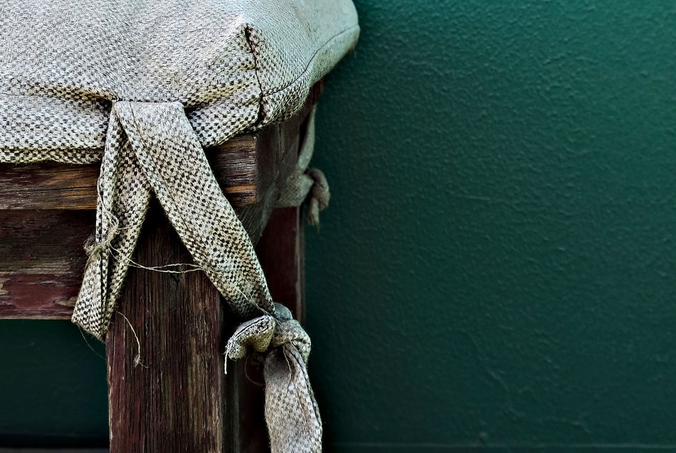 Abandoned Places Bench Close-up Copy Space Day Deserted Drapery EyeEmNewHere Fabric Fabric Texture Green Wall Muted Colors No People Rope Shabby Chic Tennis Court Tied Knot Tranquil Scene Tranquility Vintage Wood - Material Wooden Bench