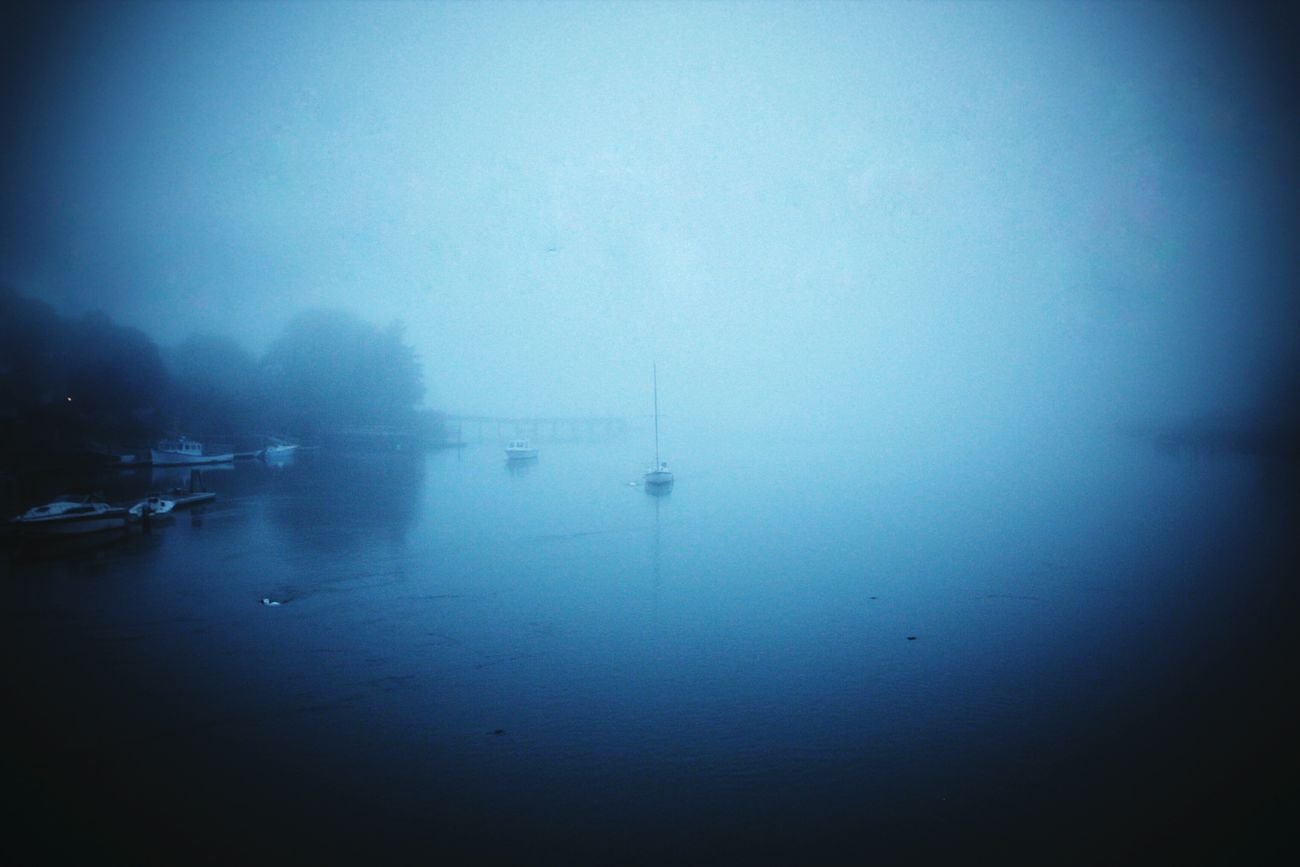 A foggy night, gotta snuggle up tight Sailboat Pea Soup Foggy Weather Floating On Water Badgers Island Piscatiquariver Piscataqua River Boats⛵️ Boat Sea Sail Sail Away, Sail Away Ocean