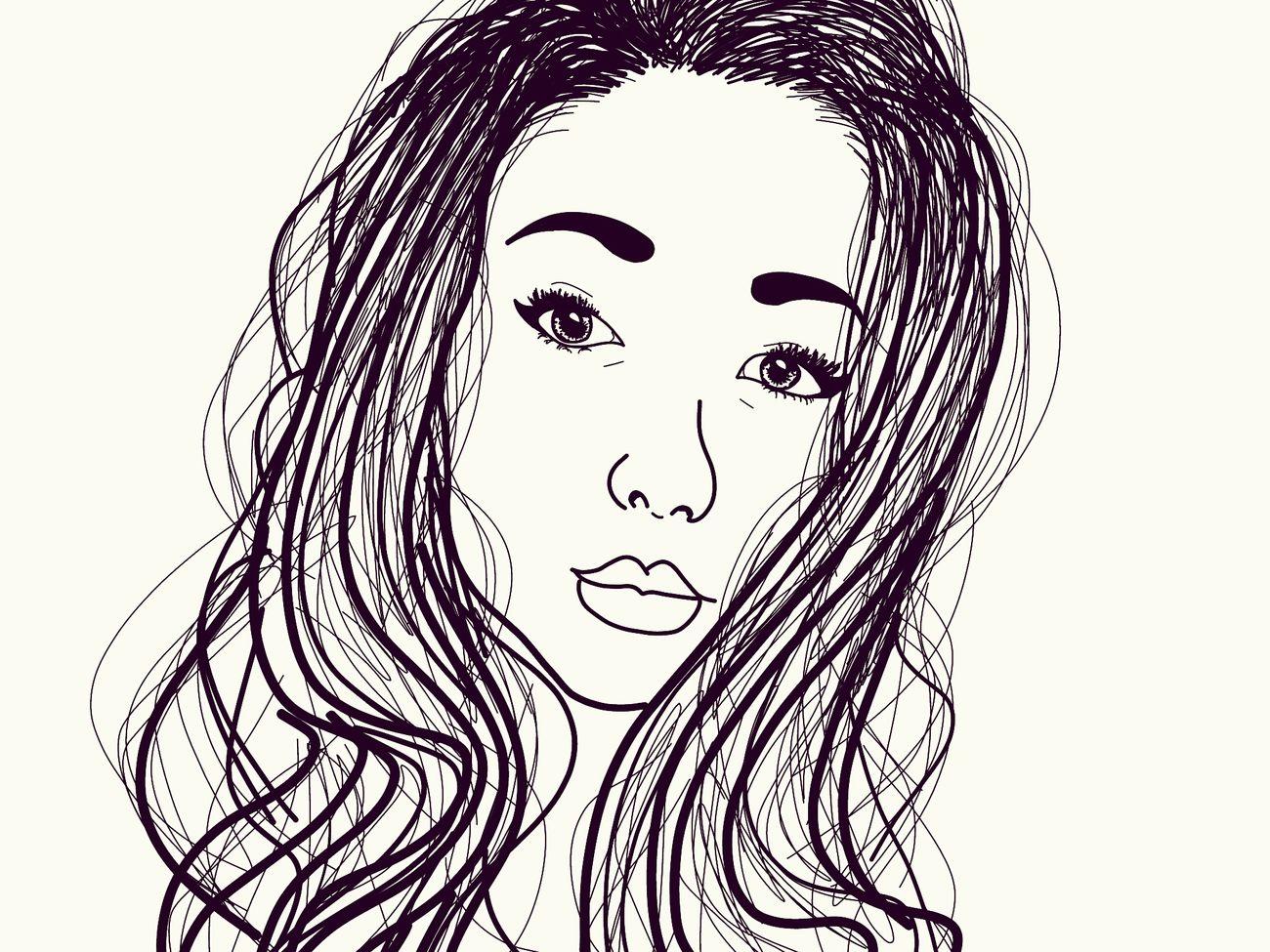 Tumblroutline Selfıe People Art Draw Cartoon Longhair Girl Creative One Person