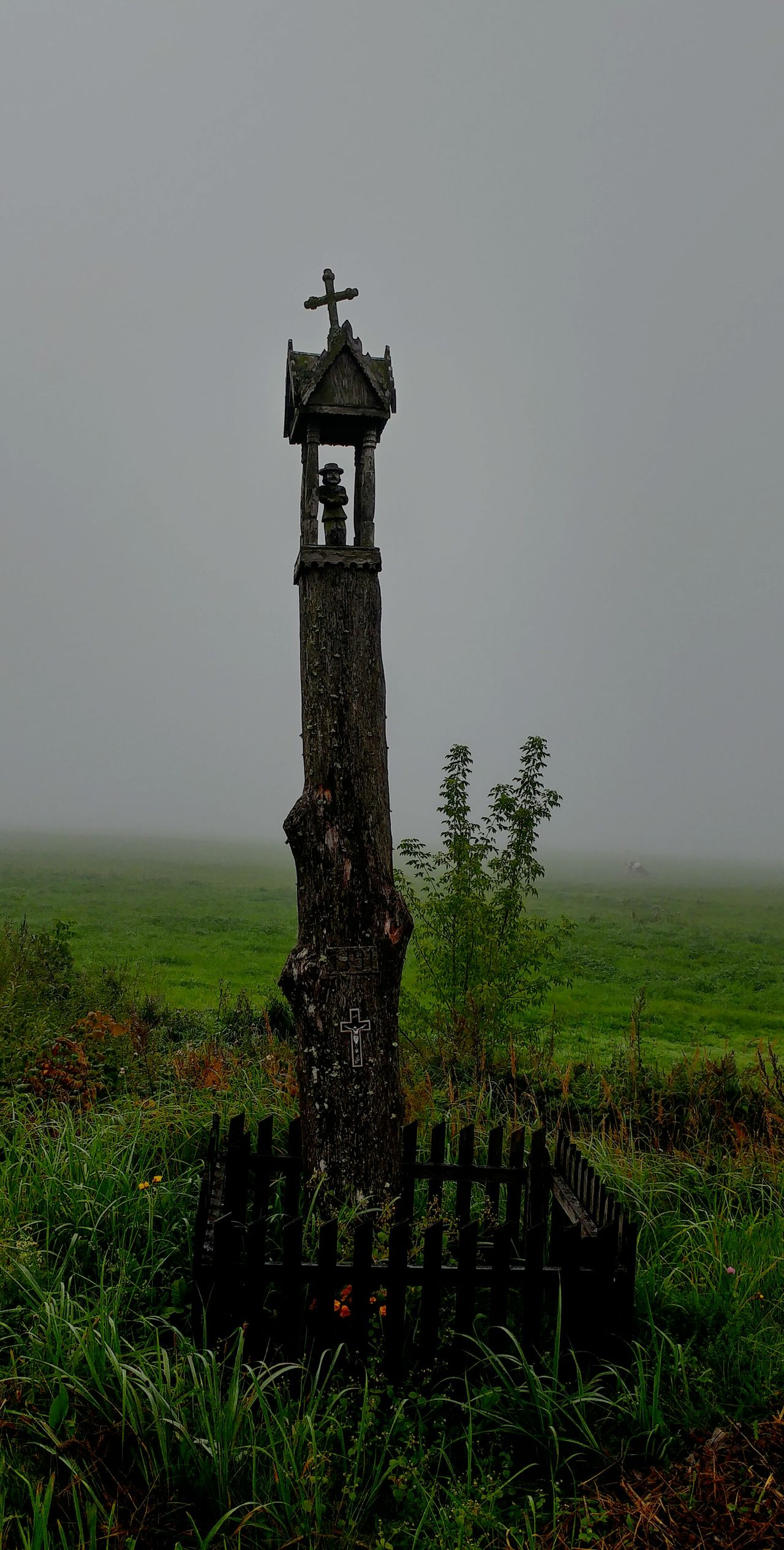 Fog Foggy Grass History Landscape Monument Nature No People Sky Wooden Cross